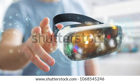 Businessman on blurred background using virtual reality glasses technology 3D rendering