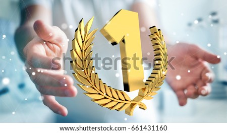 Businessman on blurred background winning the first golden price 3D rendering #661431160