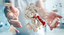 Businessman on blurred background with exploding dollar currency 3D rendering