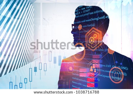 Businessman on creative city background with HTML code and business interface. Computing, future and innovation concept. Double exposure