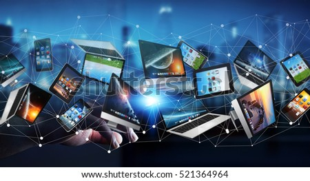 Businessman on dark background connecting tech devices 3D rendering #521364964