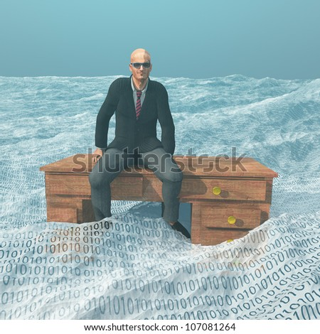 Businessman on desk afloat on binary ocean