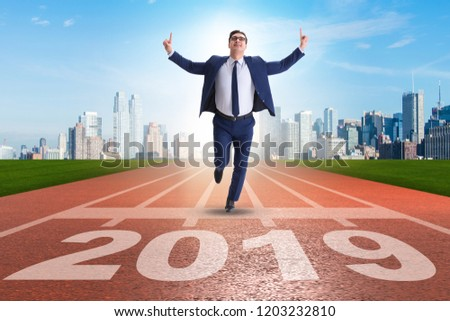 Businessman on finishing line in race for 2019