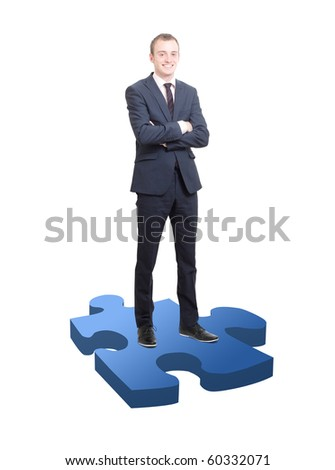 Businessman on puzzle piece