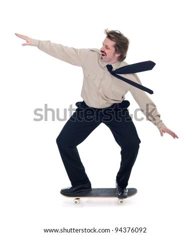 Businessman on skateboard enjoying speed - isolated