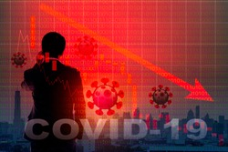 Businessman on stock market chart in down trend crisis from covid19 virus outbreak, Corona virus outbreak pandemic concept