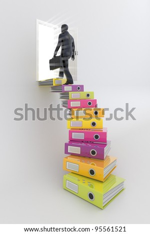 Businessman on the top of career ladder