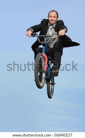 businessman on the zenith - stock photo