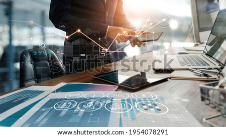 Businessman online using mobile banking payment with financial application icons. Financial innovation technology develop smart e commerce service and growth digital transaction. Digital marketing.