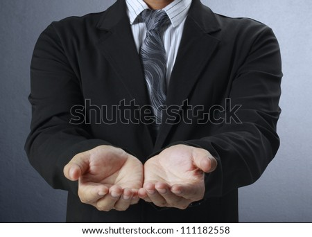 Businessman ,open a hand