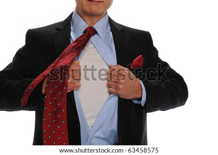 Businessman opening his shirt as a metaphor for power isolated on white