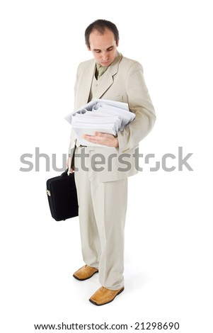 Businessman or clerk with too much work - isolated