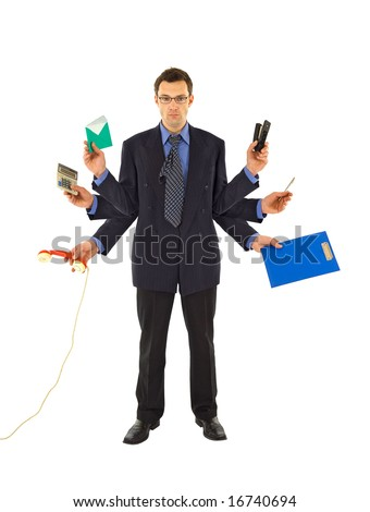Businessman or office employee doing too much work - isolated