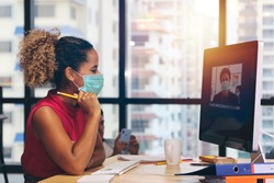 Businessman or office worker are working and video meeting online conference and wear mask for protect Covid-19 or corona virus disease but business must be continuous, healthcare concept