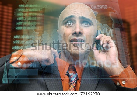 Businessman or stock broker with cellphone