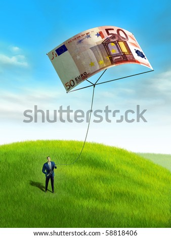 Businessman playing with a 50 euro bill used as a kite. Digital illustration.