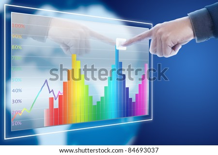 businessman point finger to stock market graph