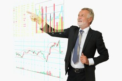 BusinessMan point his hand to Digital Stock Market information board including buy, sell, bid, offer, volume, Bargraph, Linegraph and Candlestick Graph as Modern Business Technology Concept.