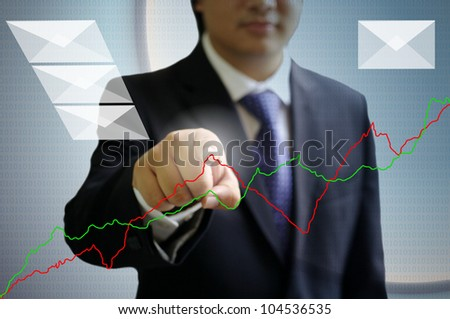 Businessman point the graph on the air, Digital technology concept