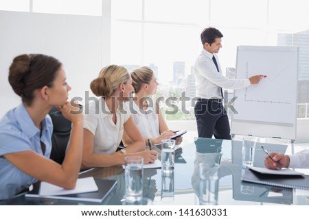 Businessman pointing at a growing chart during a meeting