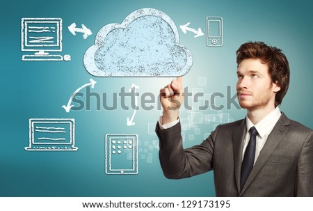 Businessman pointing cloud computing, technology connectivity concept