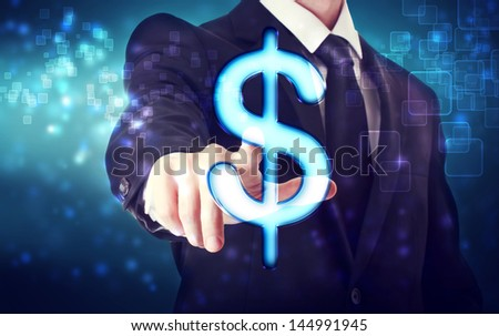 Businessman pointing Dollar icon with blue tech background
