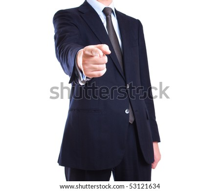 Businessman, pointing finger at you. Isolated on white