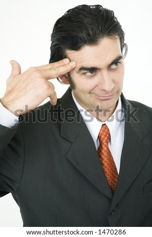 Businessman pointing his fingers to his head, shoot me!