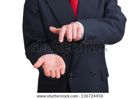 businessman pointing his own hand on white background. Clipping path included