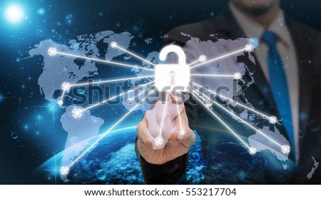 Businessman pointing or touching the key icon symbol on world map with Part of earth network line background, business connection concept,Elements of this image furnished by NASA #553217704
