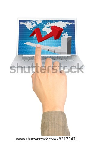 businessman pointing the chart on computer