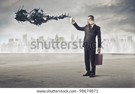Businessman polluting the air of a big city with a spray can
