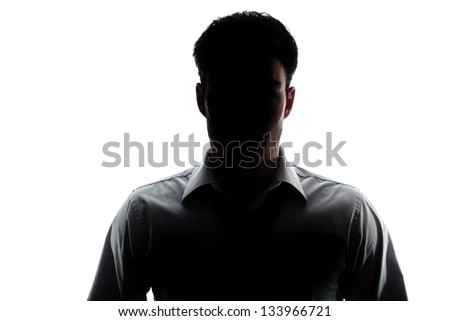Businessman portrait silhouette and a mysterious face #133966721