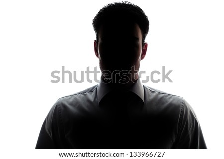 Businessman portrait silhouette and a mysterious face #133966727