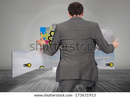 Businessman posing with hands out against open door leading to bright window