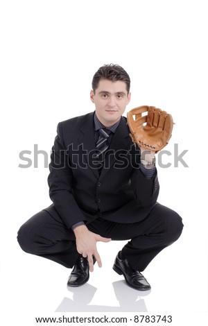 Businessman prepared to receive a ball