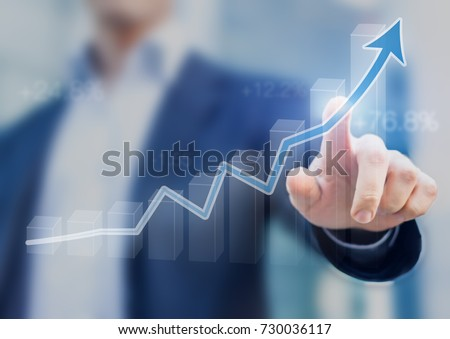Businessman presenting a sustainable development concept, concept with chart going up showing growth, profit or success