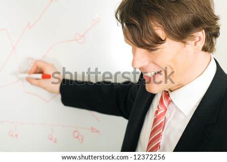 Businessman presenting at the flipchart