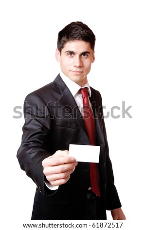 Businessman presenting card isolated on white selective focus