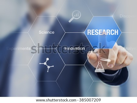 Businessman presenting concept about research, innovation and experiments, hand touching a button on virtual screen and icons about chemistry
