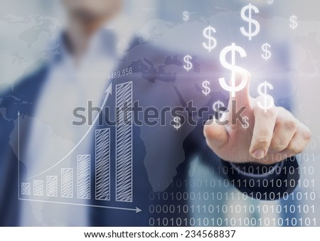 Shutterstock Businessman presenting financial analysis with charts generated by big data displaying international success and dollar signs