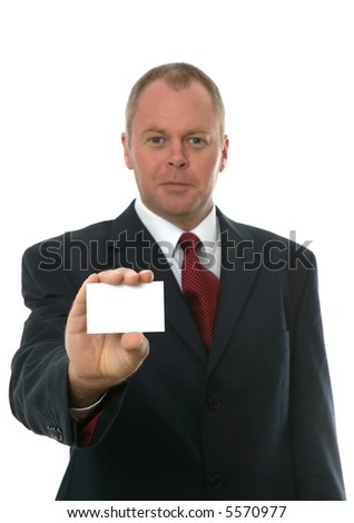 Businessman presenting his card to you. Focus on blank card. Isolated on white.