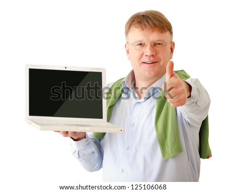 Businessman presenting laptop and showing ok, isolated on white