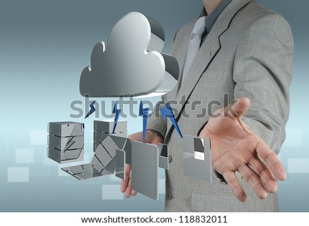 Businessman presents a Cloud Computing diagram on the new computer interface