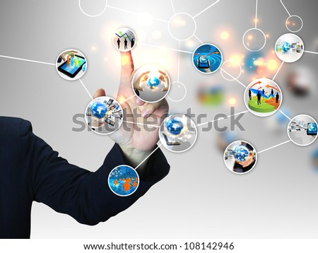 businessman press business diagram