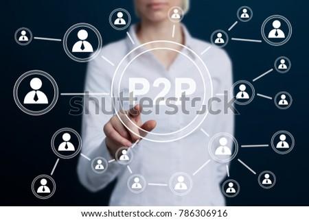 Businessman press button peer-to-peer p2p icon. #786306916