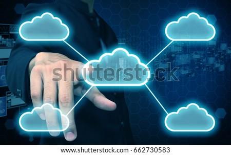 businessman press cloud - Shutterstock ID 662730583