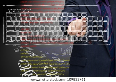 Businessman press on sketching computer keyboard (computer generation)
