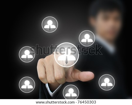 Businessman press social business button