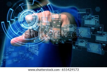 businessman press technology #655429573